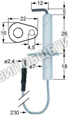Электрод зажигания с фланцем 401000075 Fiamma для GGP10.6 / GGP10.8 / GGP15.10 / GGP15.10C / GGP15.10M
